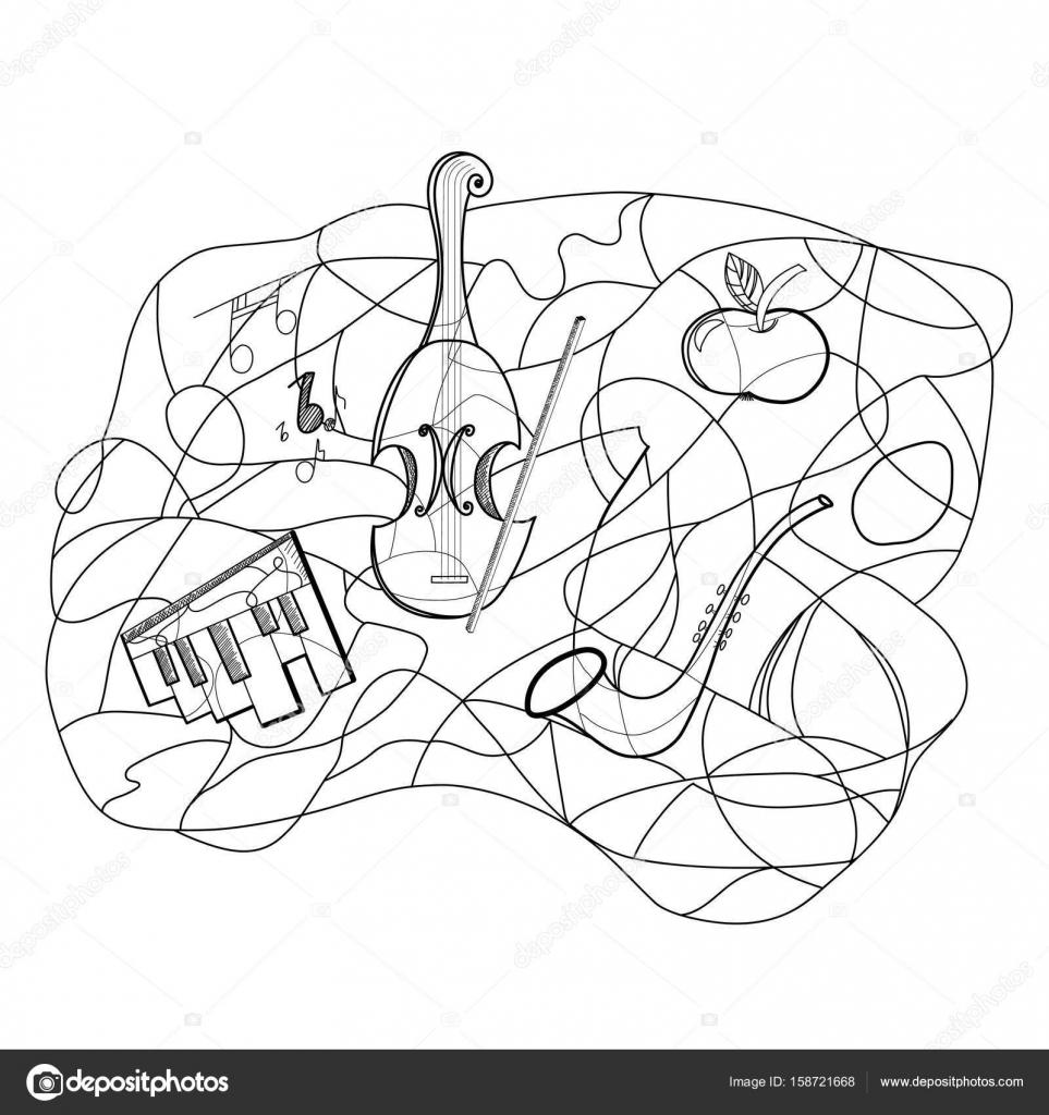ミュージカルの要素の抽象的なイラストを概要します ストック