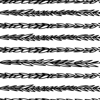 Decorative doodle branches seamless pattern.