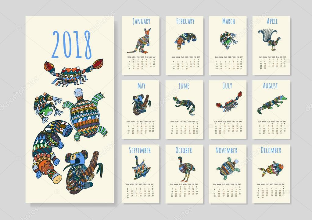 Australian animals calendar in vector.