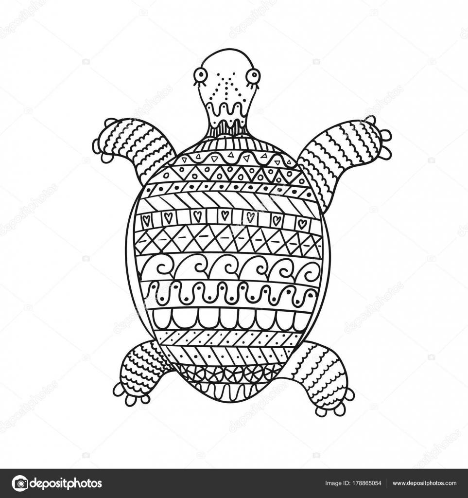 Stilisierte Schildkröte isoliert auf weißem Hintergrund ...