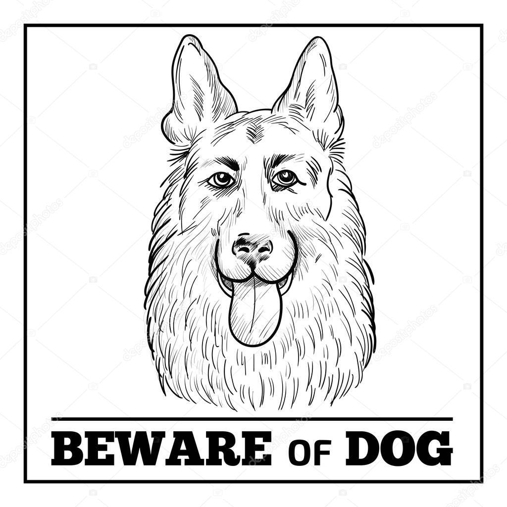 German Shepherd portrait with beware sign.