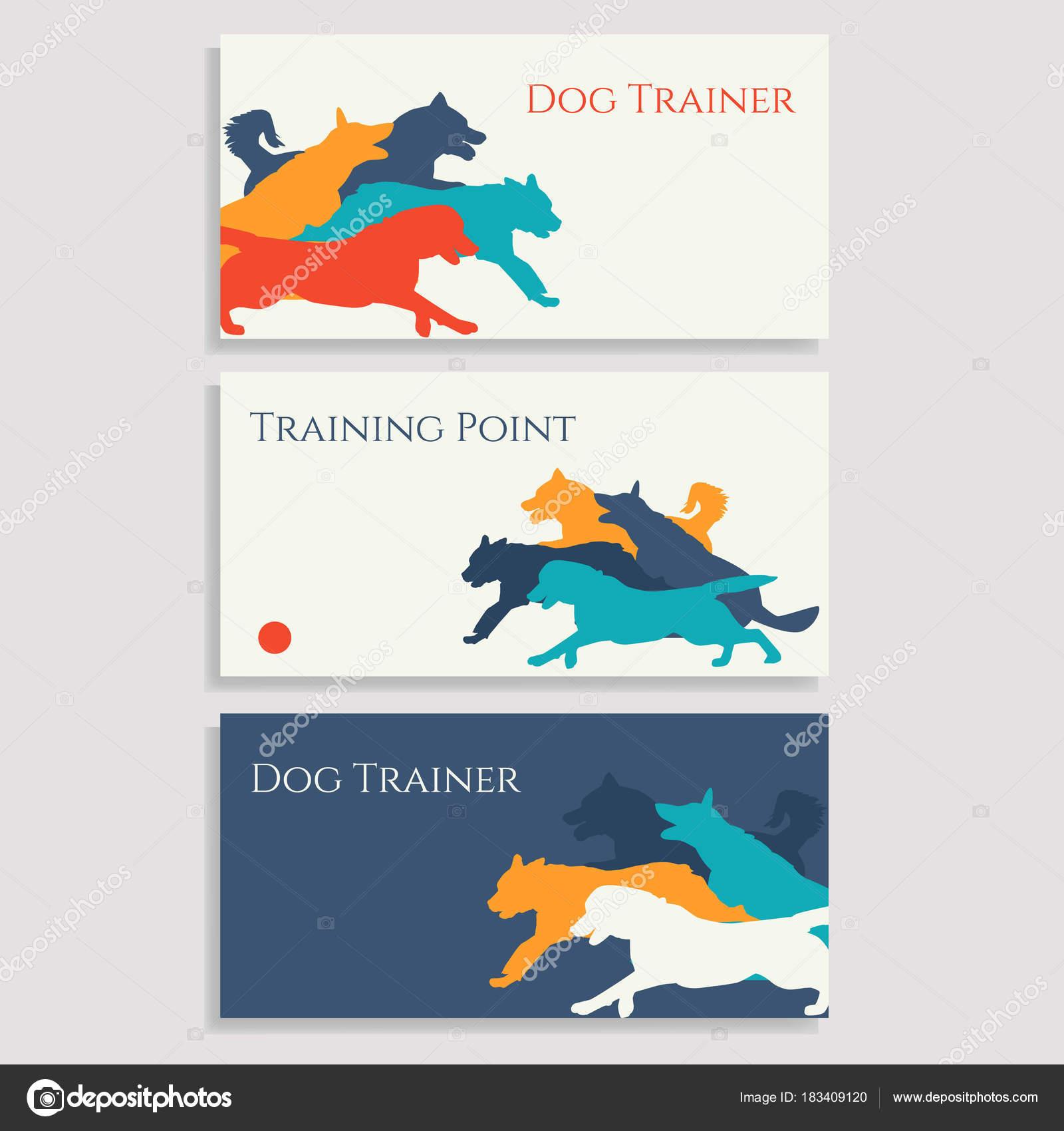 Dog sport leaflets. Trainer business cards. — Stock Vector ...