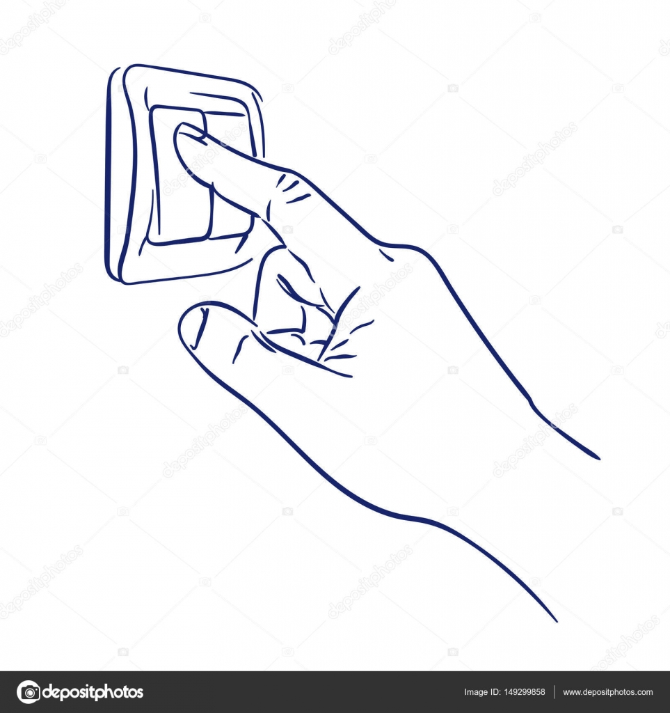 Turn the light switch on hand — Stock Vector © malyunak ... Light Switch Drawings on camera drawing, cable drawing, engine drawing, screwdriver drawing, living room drawing,