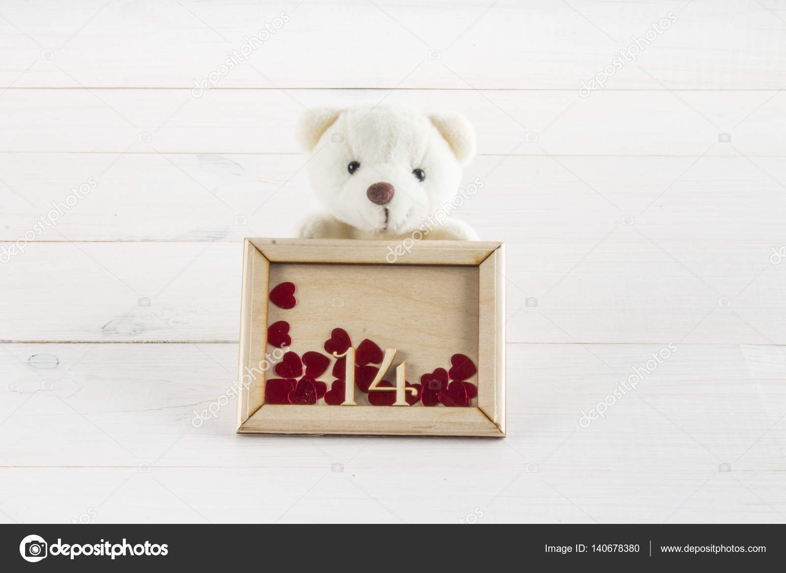 White Teddy Bear Holding Plate With Hearts Concept On 14 February