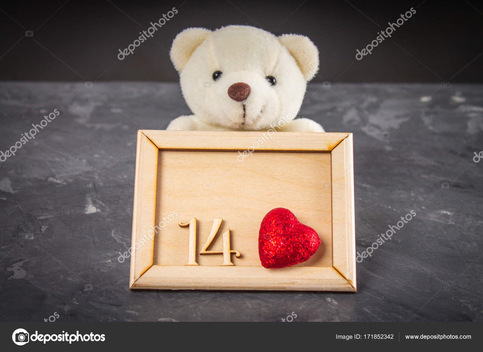 White Teddy Bear Holding A Wooden Frame With The Numbers 14 And