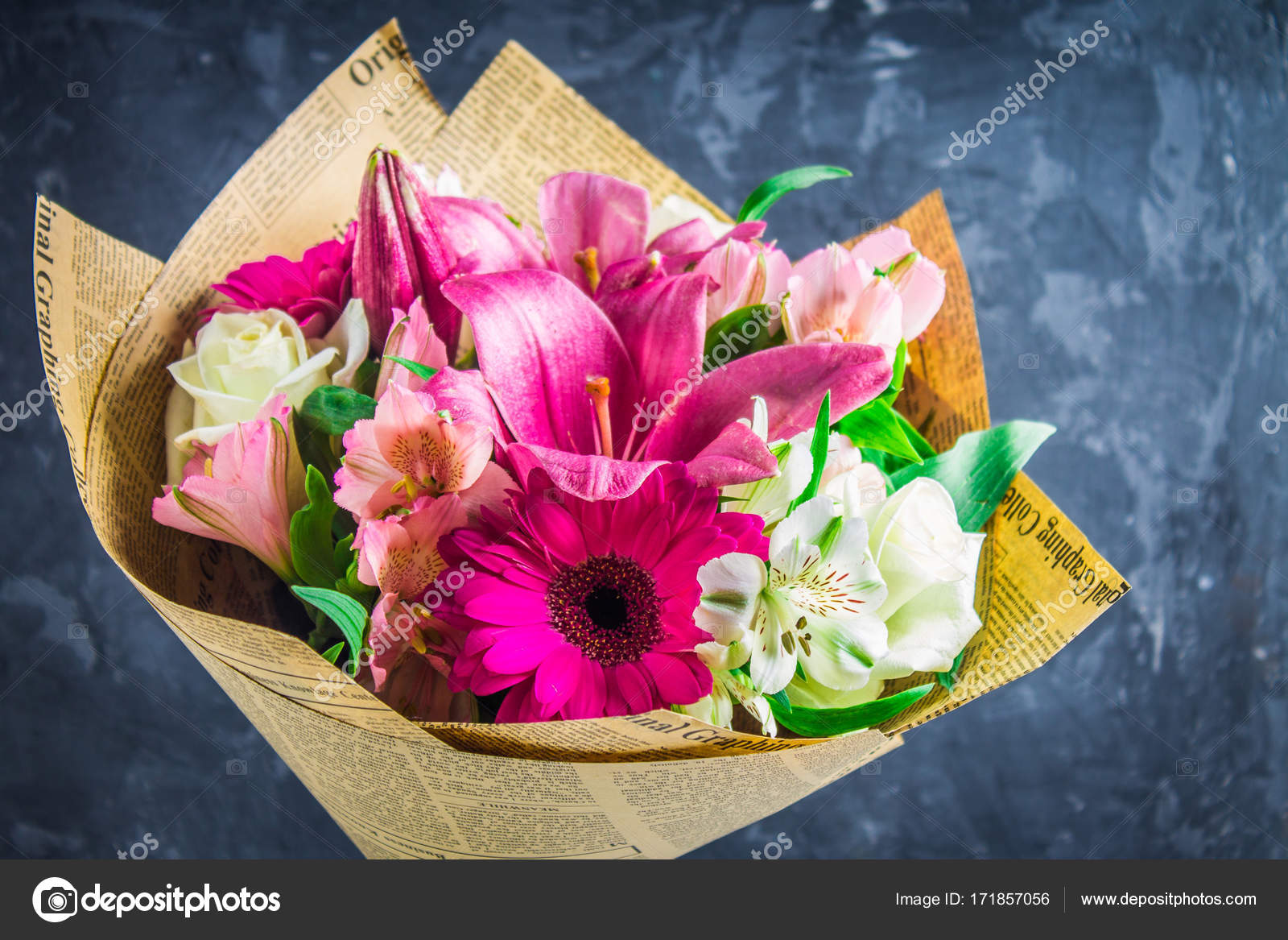 Bouquet Of Flowers From Lily Gerbera White Roses And Alstroemeria