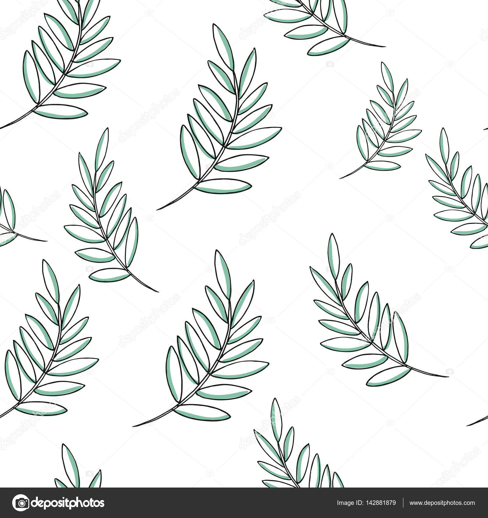 Leaf Vector Drawing Set Palm Leaves Pattern Herbal Engraved Style Illustration Organic Product Sketch Hand Drawn Leaf Stock Vector C Viki Tory 142881879