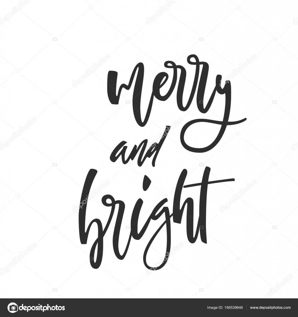 Fröhlich und hell sein. Hand-Schriftzug kalligraphische Christmas ...