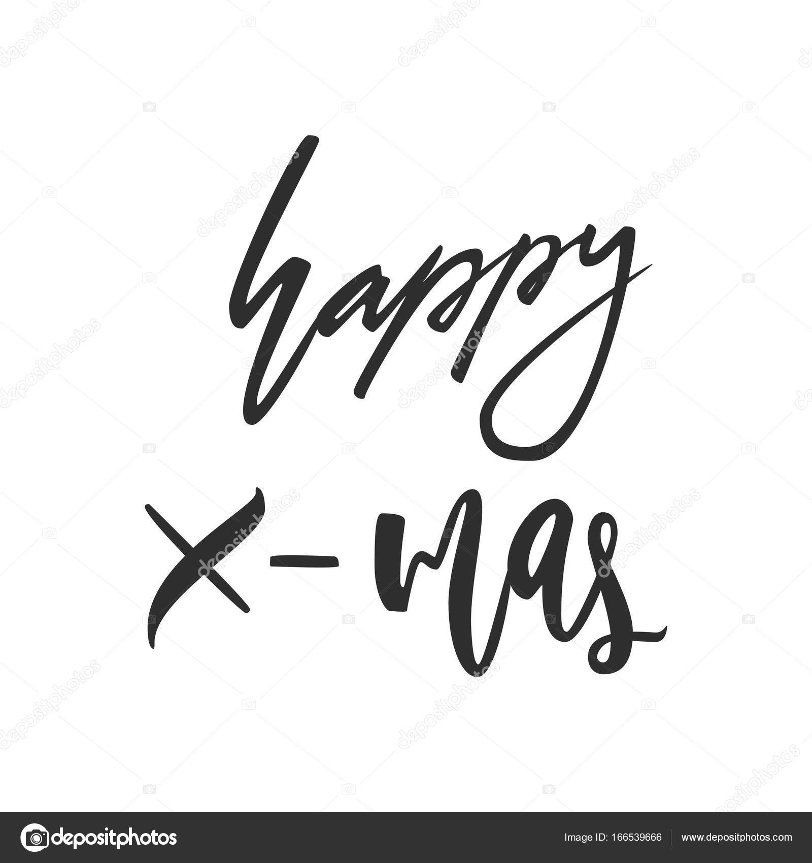 Happy X Mas Greeting Card Black And White Hand Drawn Lettering