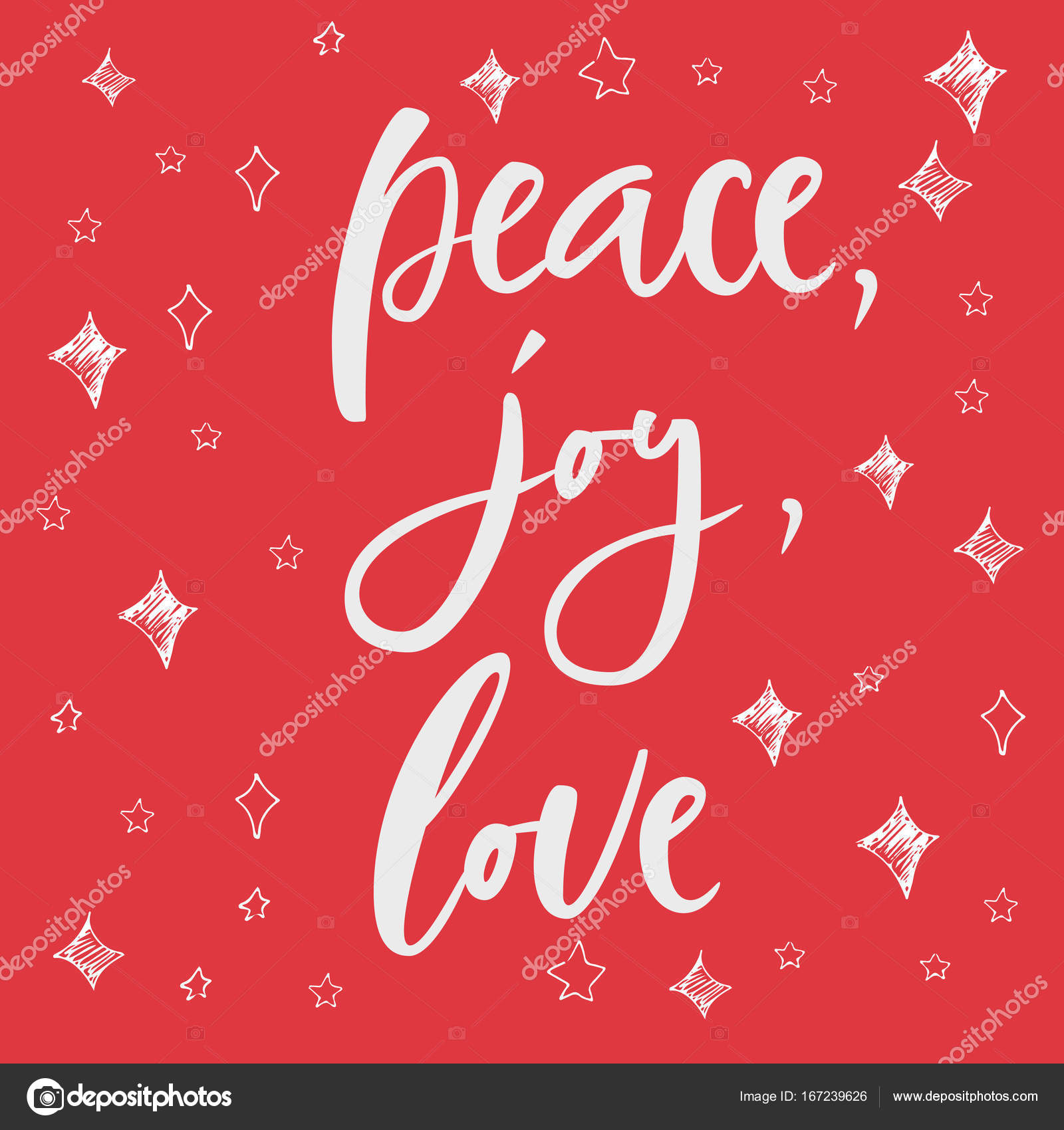 Pease Joy Love Greeting Card On Christmas Background Hand