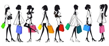 Set of silhouettes of girls women with shopping. Isolated on white background. Shopping. Sale