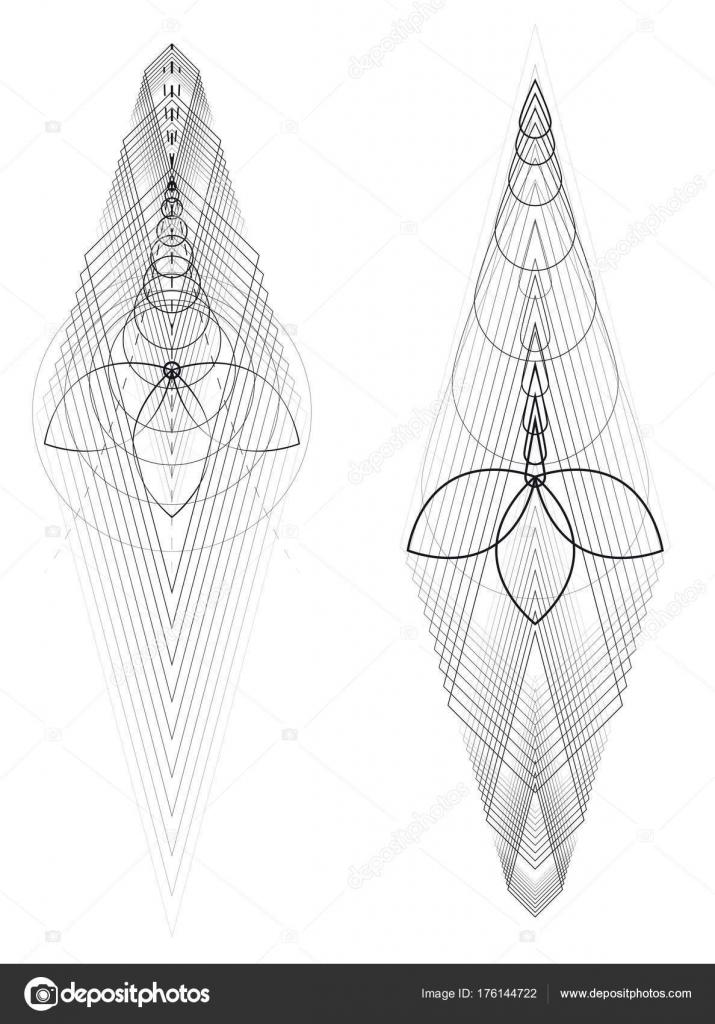 Tattoo Geometric Ornamen Lotus Archivo Imagenes Vectoriales