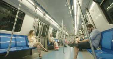 BUCHAREST, ROMANIA - AUGUST 4TH 2017: time lapse of people riding the subway