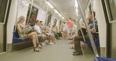 BUCHAREST, ROMANIA - AUGUST 4TH 2017: time lapse of people riding the metro