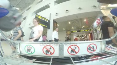 BUCHAREST, ROMANIA - AUGUST 6TH 2017: POV footage of airport baggage cart