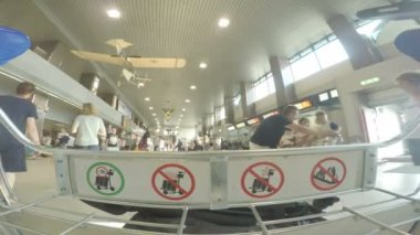 BUCHAREST, ROMANIA - AUGUST 6TH 2017: POV footage of airport luggage cart