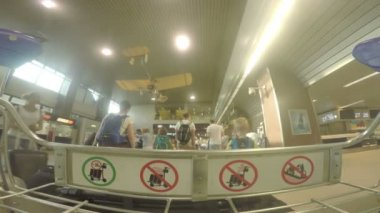 BUCHAREST, ROMANIA - AUGUST 6TH 2017: POV shot of baggage cart in the terminal