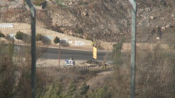 Israel, Circa 2011 - The Israel lebanon border with posts and Hezbollah flags.