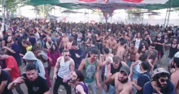 KINERET, ISRAEL, April 6 2018- large crowd dancing in a nature trance party