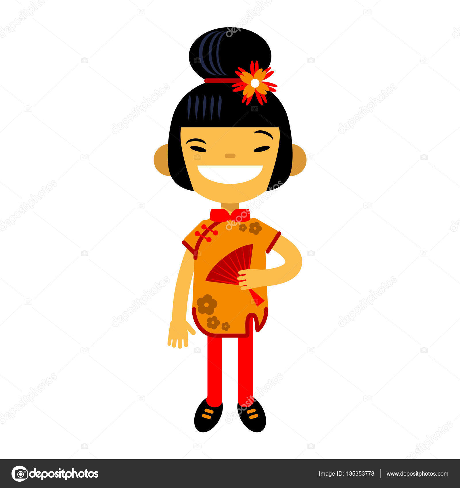 Asian lady cartoon wife