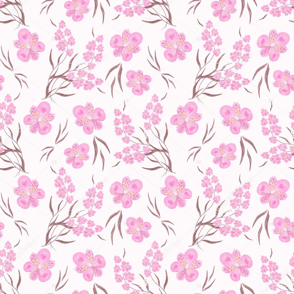 Seamless Floral Pattern Background Pink Flowers On A White