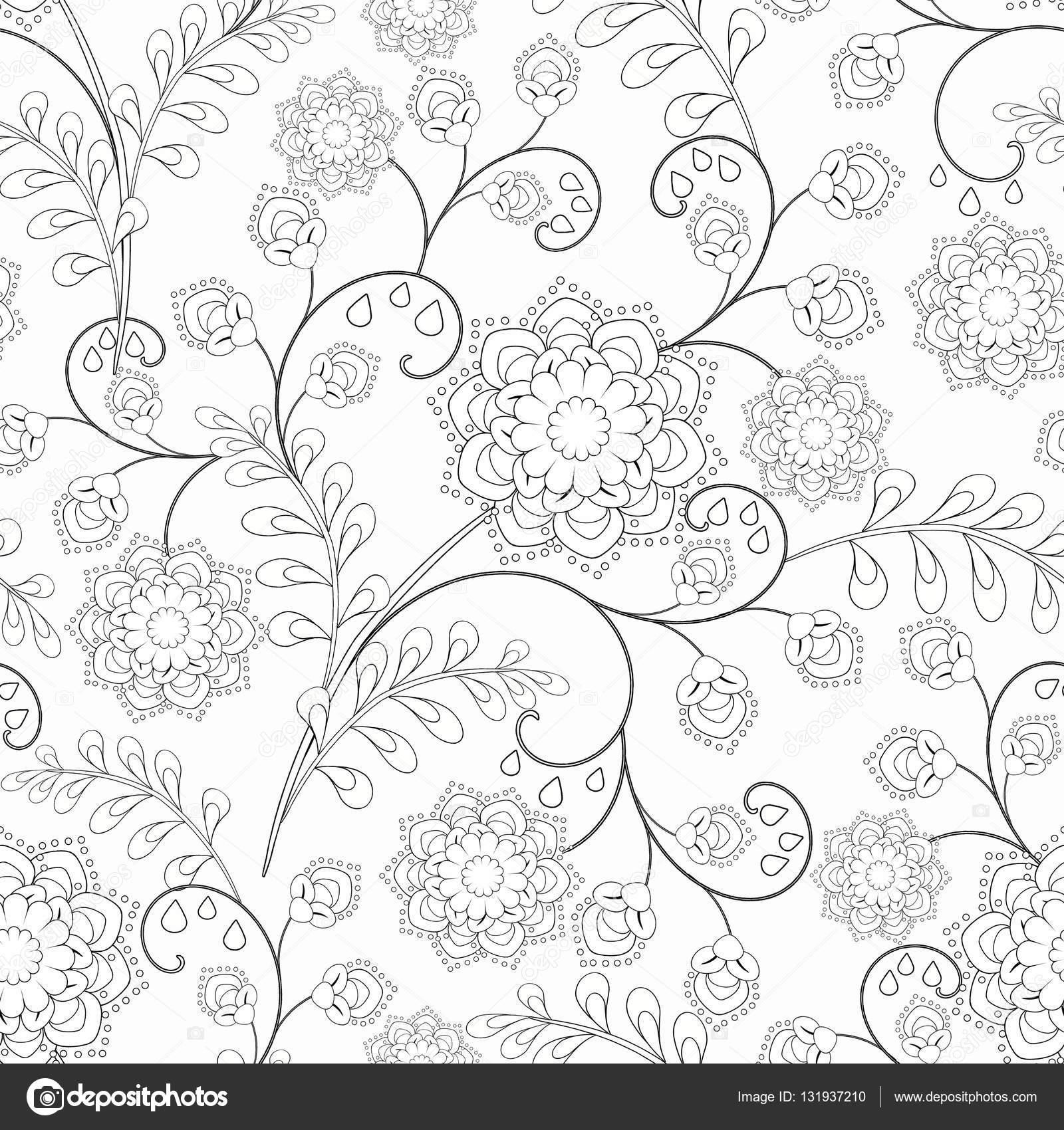 Szkic dla projektowania tkaniny lub dorosły relaks barwienia anty stres książki — Zdjęcie od Brusnika9