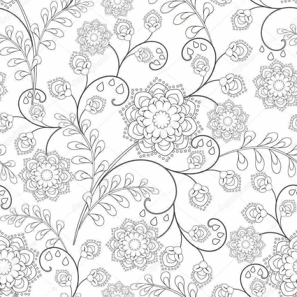 naadloze zwart wit bloemmotief kleurplaat zwart wit