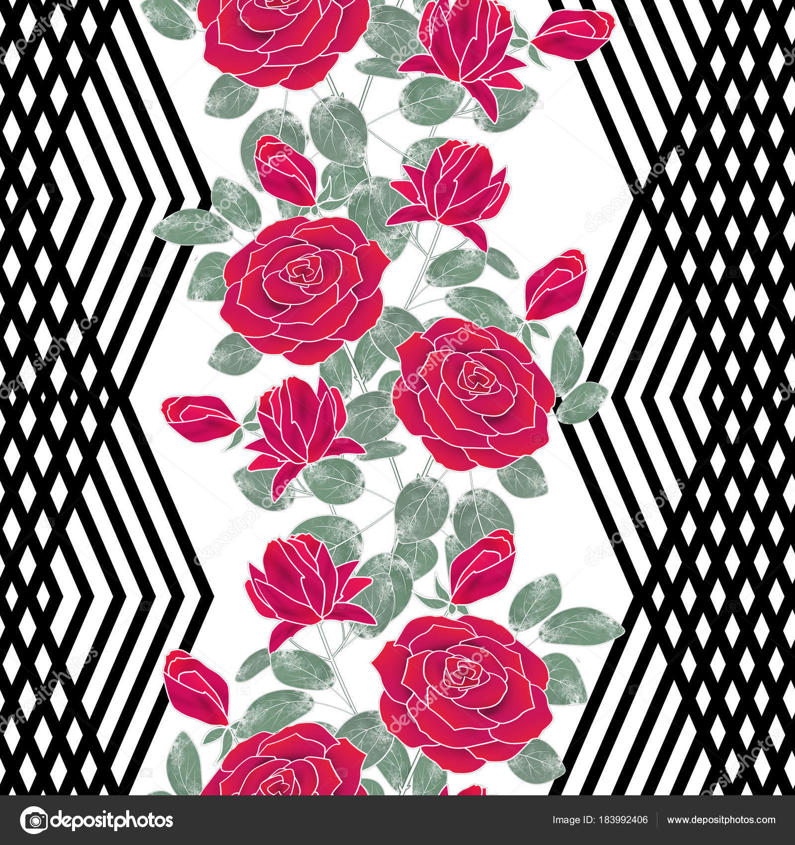 Seamless Abstract Floral Pattern Red Roses Black White