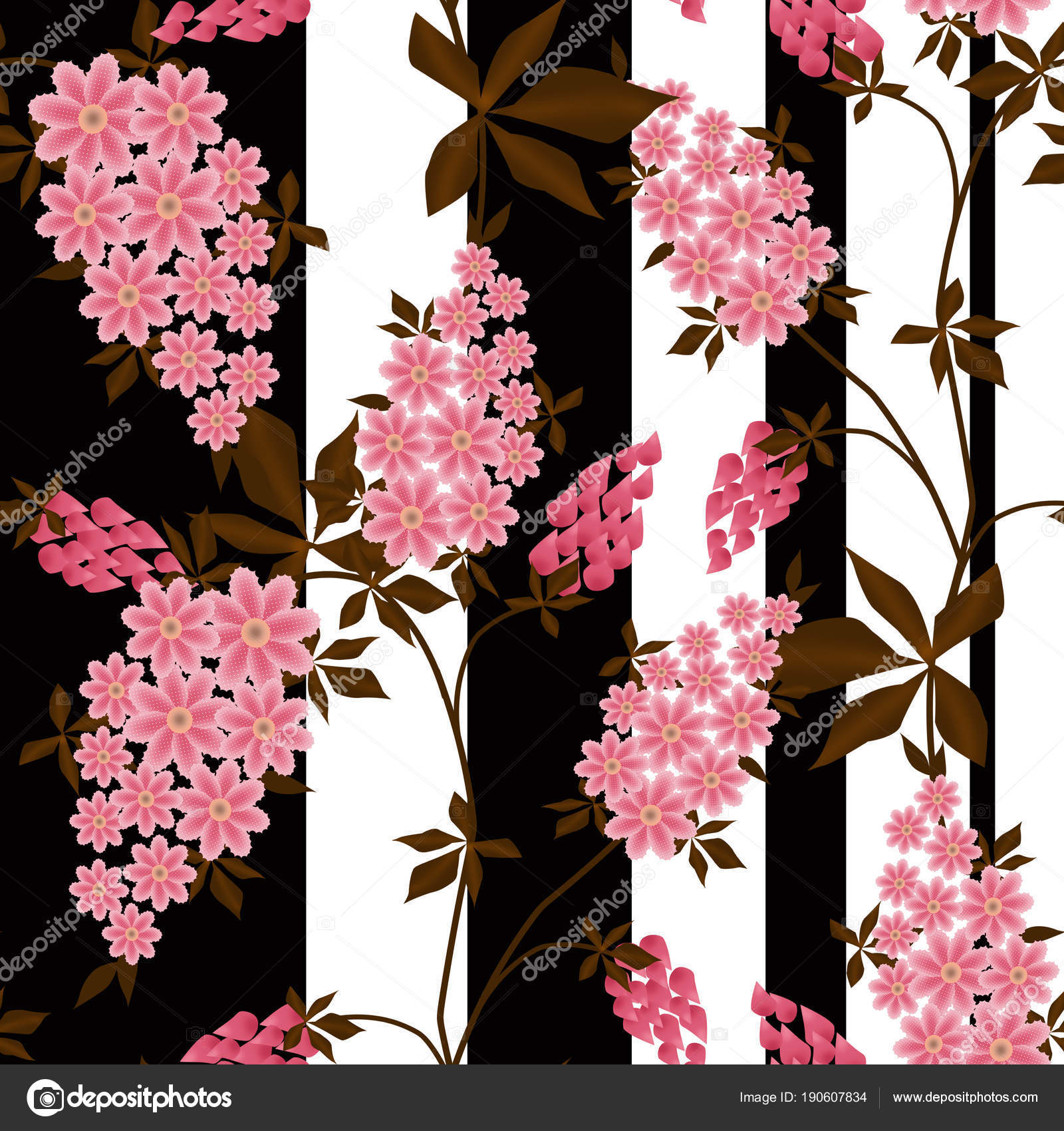 Seamless Pink Flowers Black White Striped Background Stock Photo