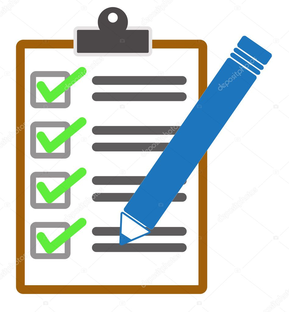 checklist and pencil icon on white background stock vector