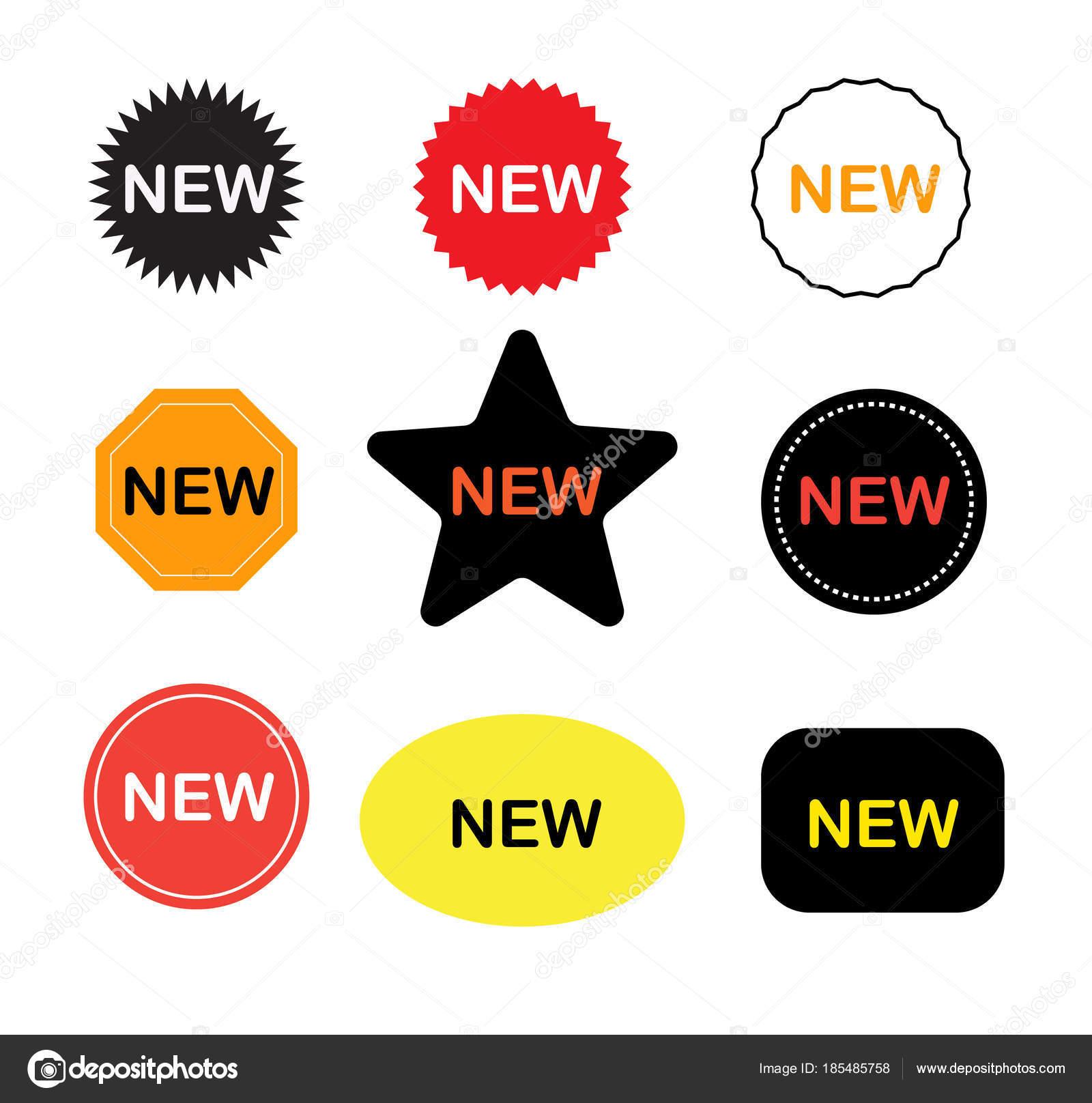 nuevo icono de etiquetas engomadas sobre fondo blanco nueva muestra