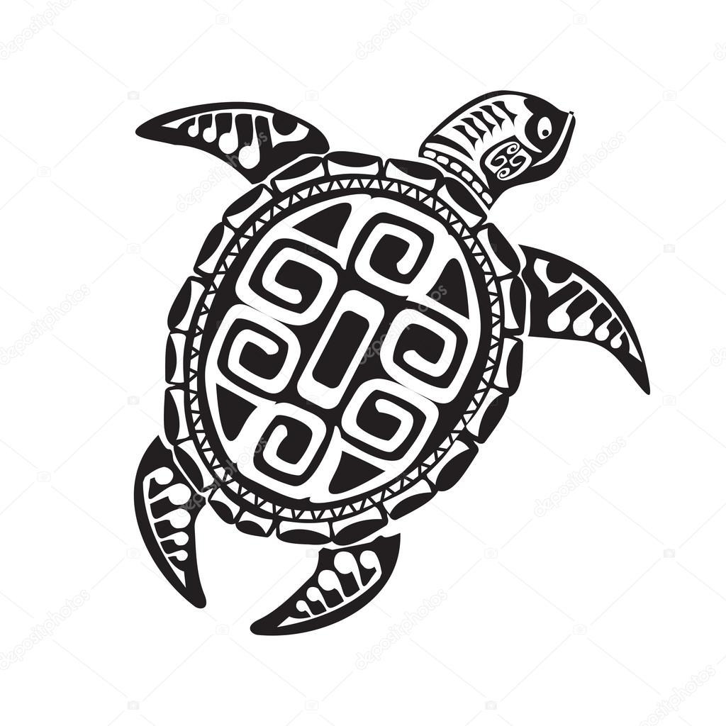 turtle tattoo in maori style vector illustration eps10. Black Bedroom Furniture Sets. Home Design Ideas