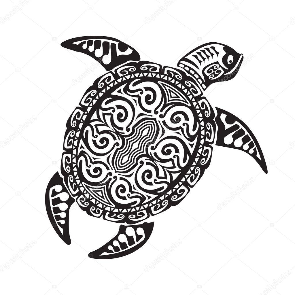 Tatouage Tortue Maori Style Illustration Vectorielle Eps10 Image