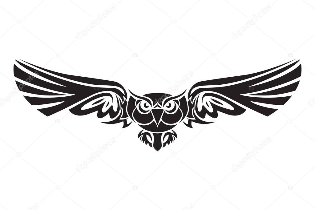 Buho Ave Logo En Negro Sobre Un Fondo Blanco. Ilustración