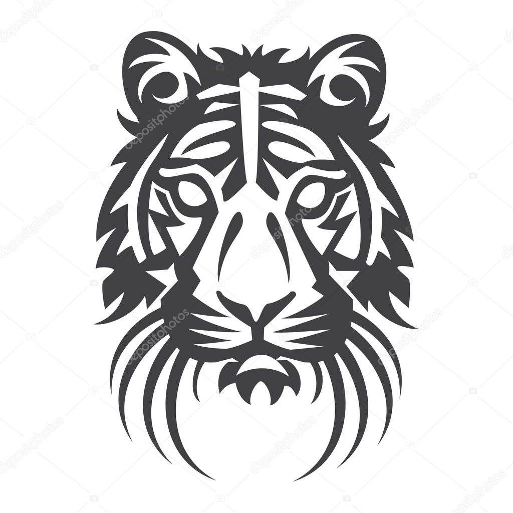 Fabuleux tête de tigre en noir sur fond blanc — Image vectorielle #129727556 WK85