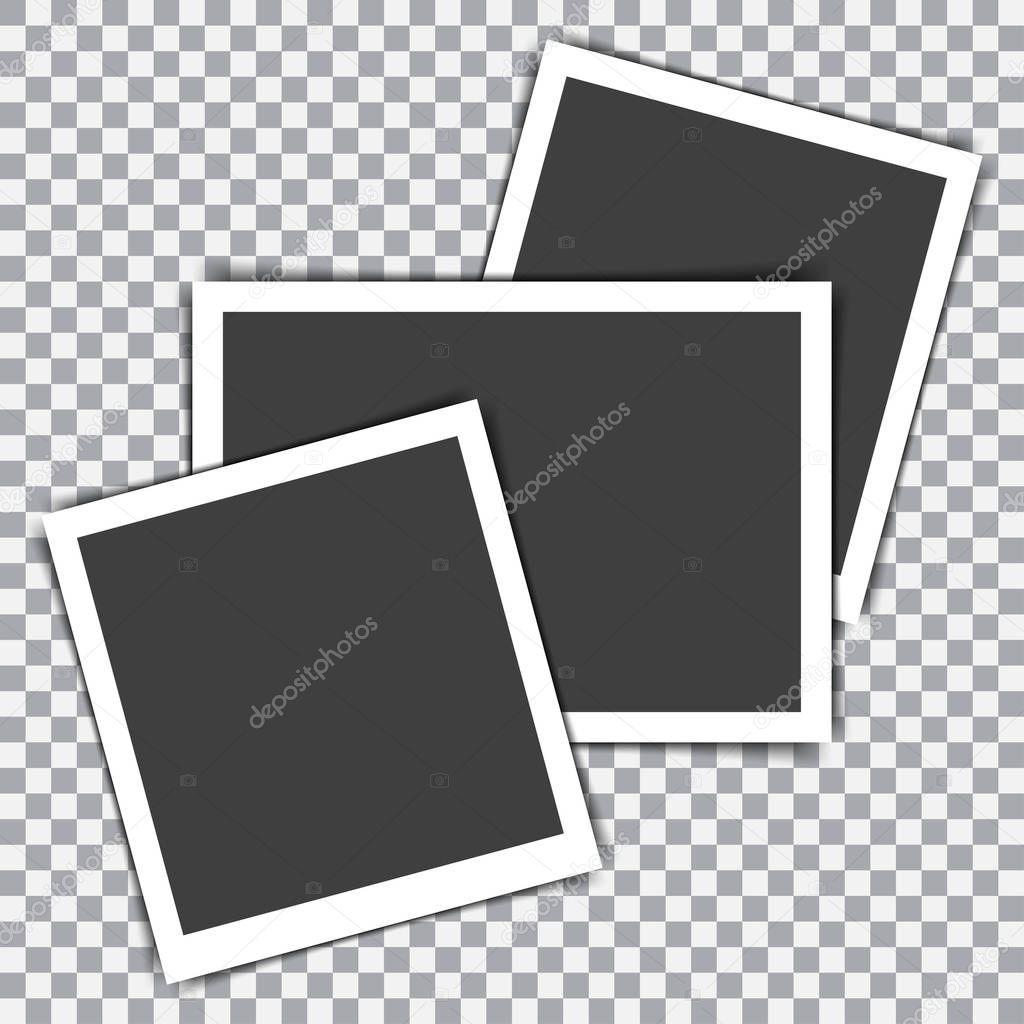 Satz von Retro-Bilderrahmen mit Schatten auf einem transparenten ...
