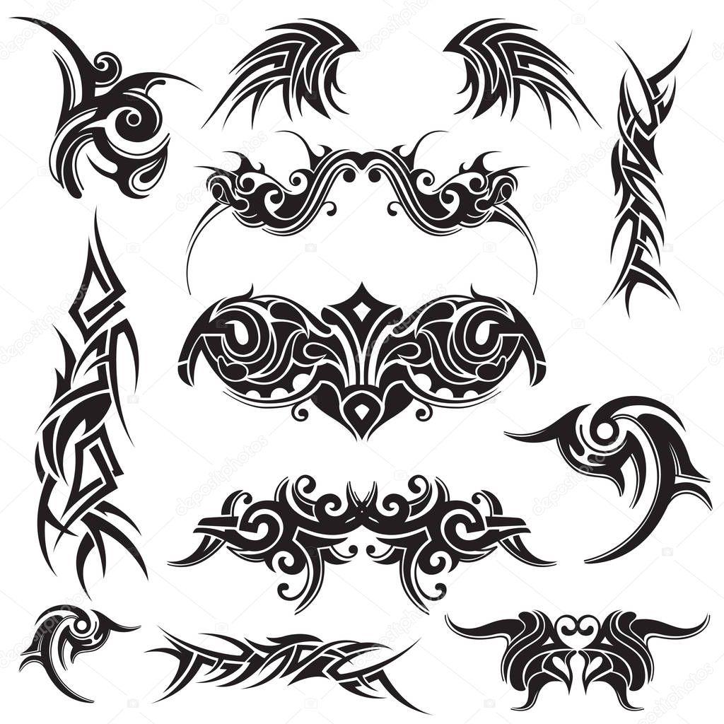 Ensemble De Tatouage Tribal Abstrait En Noir Sur Fond Blanc Image