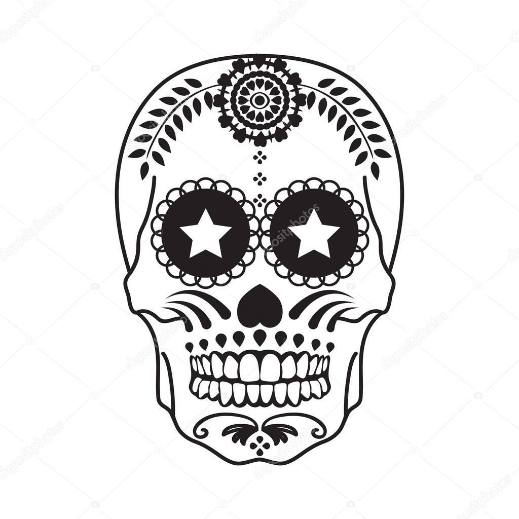 Tatouage Crâne Mexicain En Noir Sur Fond Blanc Image Vectorielle
