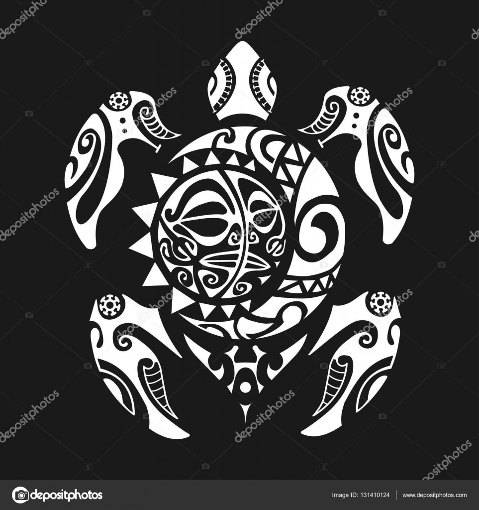 Tatouage Tortue Maori Style Sur Fond Noir Illustration Vectorielle