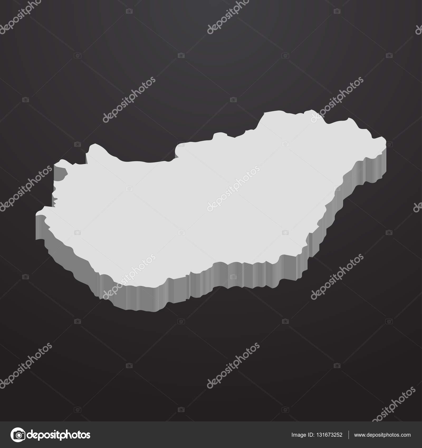 3d térkép magyarország Magyarország Térkép szürke, fekete háttér, 3d — Stock Vektor  3d térkép magyarország