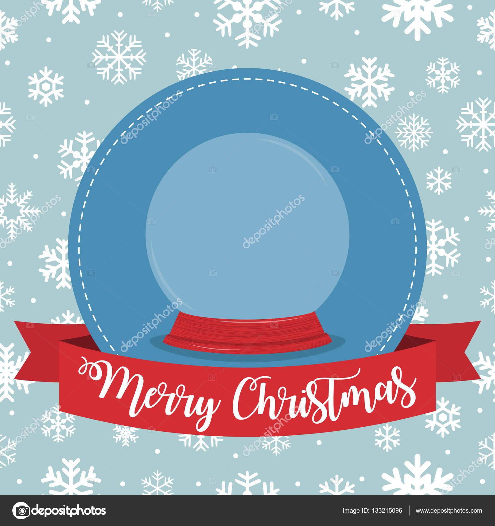 Weihnachten-Abzeichen mit Schneekugel und Band auf Schneeflocken ...
