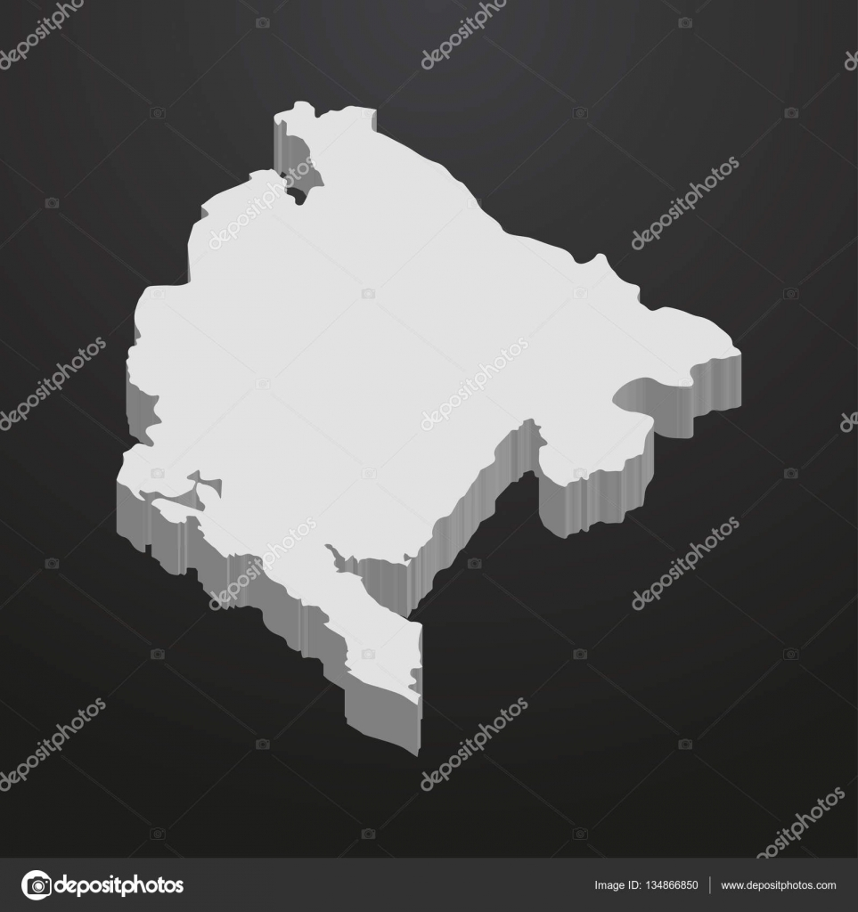 Montenegro Map In Gray On A Black Background D Stock Vector - Montenegro map download