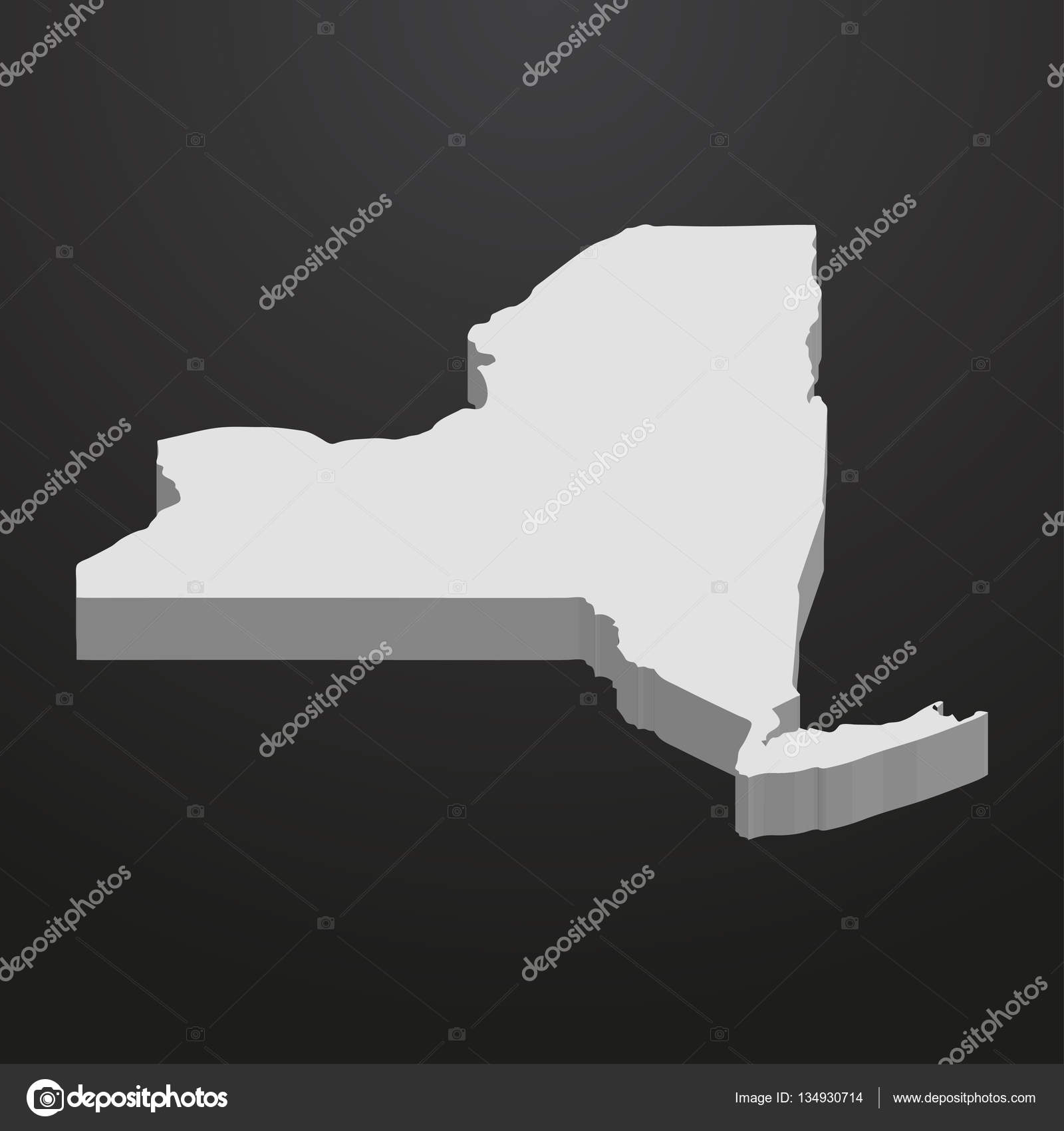 York State Map In Gray On A Black Background D  Stock Vector - New york map in 3d