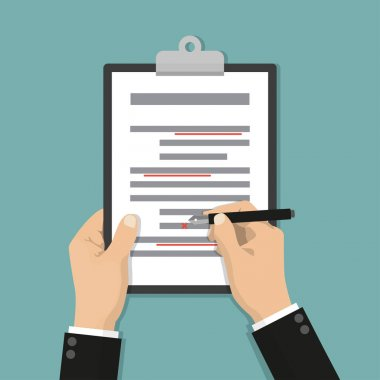 Editing documents to correct errors. Proofreader checks transcription written text