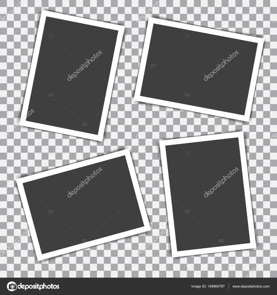 Conjunto de marco de fotos retro con sombras sobre un fondo ...
