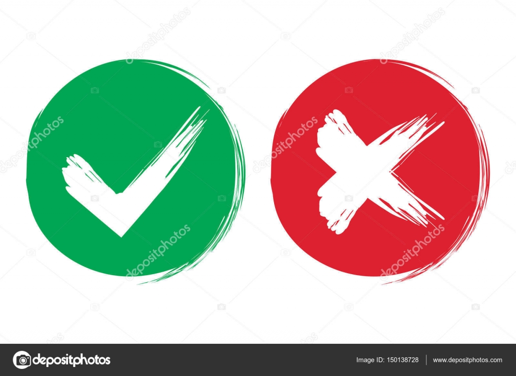 Tick and cross brush signs green checkmark ok and red x icons tick and cross brush signs green checkmark ok and red x icons isolated on white background simple marks graphic design symbols yes and no button for buycottarizona Gallery
