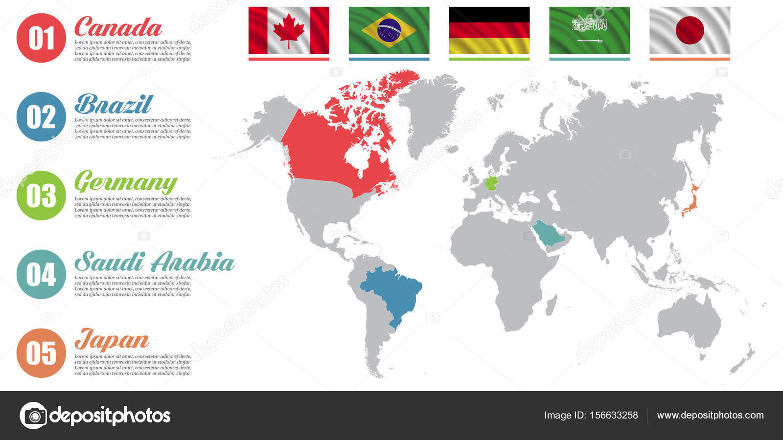 World map infographic slide presentation canada brazil germany world map infographic slide presentation canada brazil germany saudi arabia japan business marketing concept color countries with flags vector by gumiabroncs