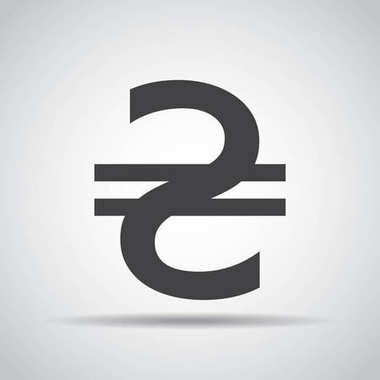 Hryvnia icon with shadow on a gray background. Vector illustration