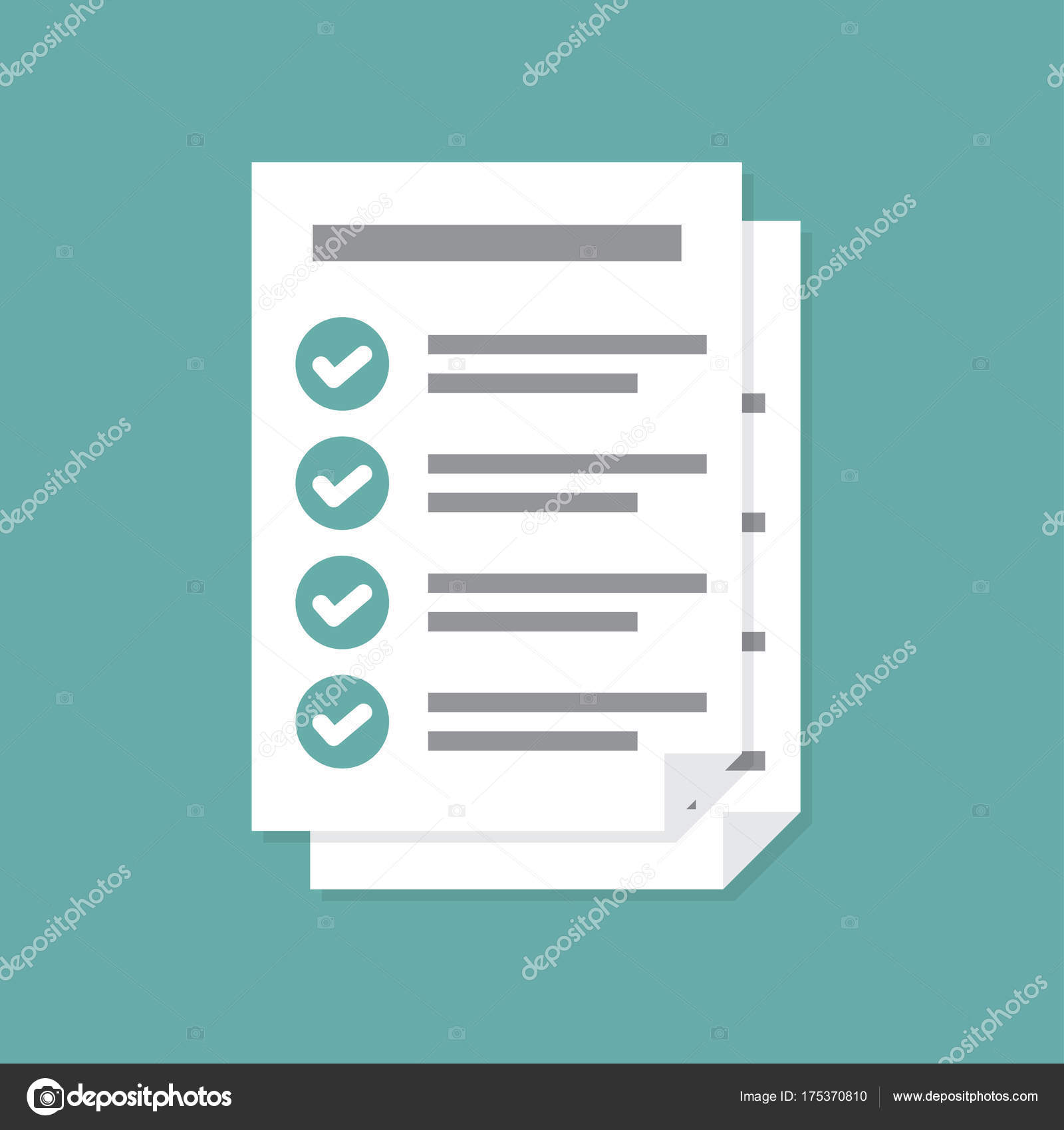 documents icon. stack of paper sheets. confirmed or approved