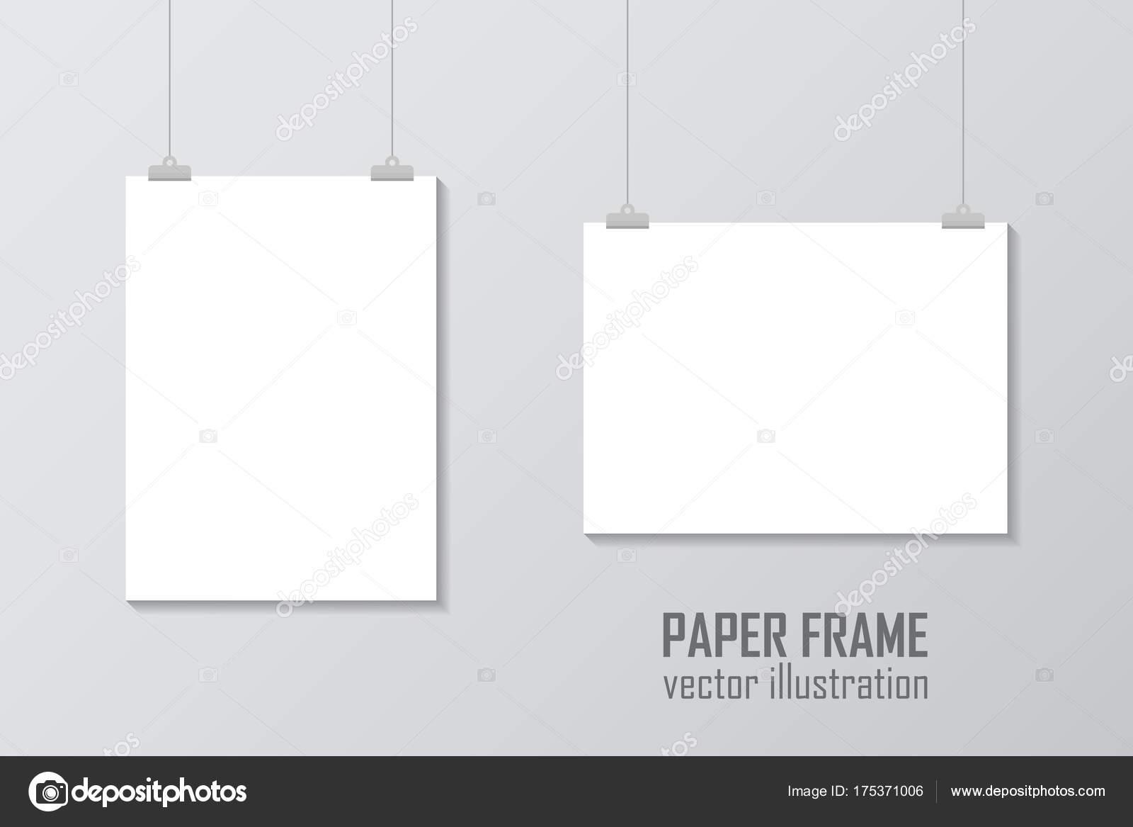 Leeres DIN A4-Vektor Papier Rahmen Mock-up hängen mit Büroklammer ...